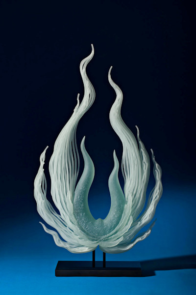 Risen, sculpture made from sandblasted glass
