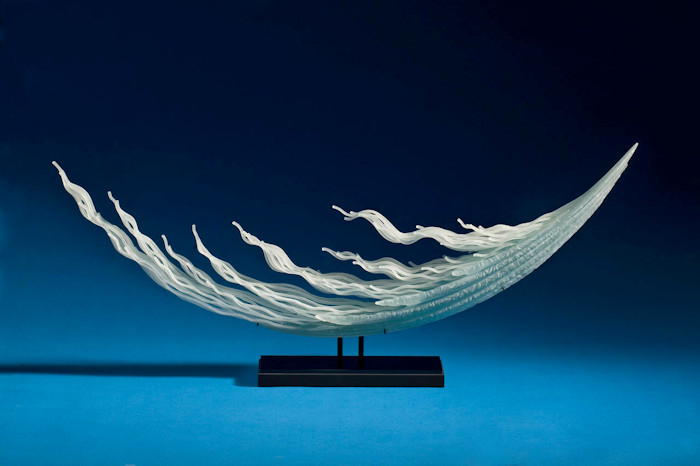 Windward, sculpture made from sandblasted glass